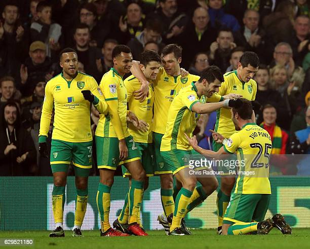 Norwich City's Nelson Oliveira celebrates his goal during the Sky Bet Championship match at Carrow Road Norwich