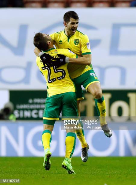 Norwich City's Nelson Oliveira celebrates scoring his side's first goal of the game with Ivo Pinto during the Sky Bet Championship match at the DW...