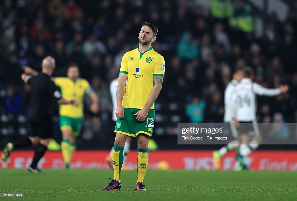 Norwich City's Robbie Brady looks dejected during the Sky Bet Championship match at the iPro Stadium, Derby.