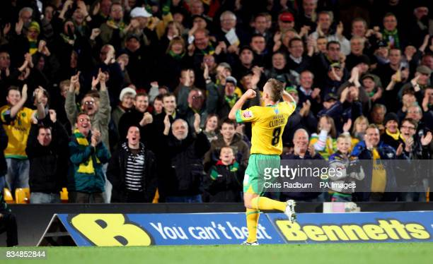 Norwich City's Sammy Clingan celebrates after his free kick was taken over the line by Wolverhampton goal keeper Carl Ikeme during the CocaCola...