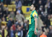 Norwich City's Scottish defender Russell Martin reacts on the final whistle in the English Premier League football match between Norwich City and...