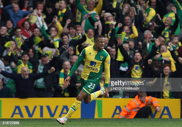 Norwich Citys Swedish defender Martin Olsson after scoring to make it 32 during the English Premier League football match between Norwich City and...