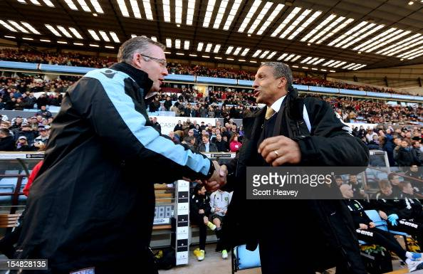 Norwich manager Chris Hughton and Aston Villa manger Paul Lambert shake hands prior to kick off during the Barclays Premier League match between...
