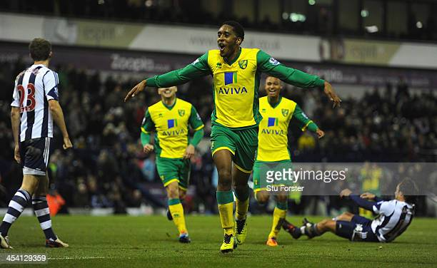 Norwich player Leroy Fer celebrates after scoring the second goal during the Barclays Premier League match between West Bromwich Albion and Norwich...