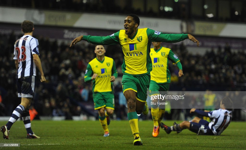 Norwich player <a gi-track='captionPersonalityLinkClicked' href=/galleries/search?phrase=Leroy+Fer&family=editorial&specificpeople=5476889 ng-click='$event.stopPropagation()'>Leroy Fer</a> celebrates after scoring the second goal during the Barclays Premier League match between West Bromwich Albion and Norwich City at The Hawthorns on December 7, 2013 in West Bromwich, England.