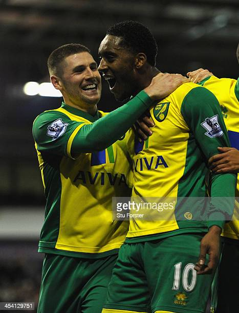 Norwich player Leroy Fer celebrates after scoring the second goal with Gary Hooper during the Barclays Premier League match between West Bromwich...