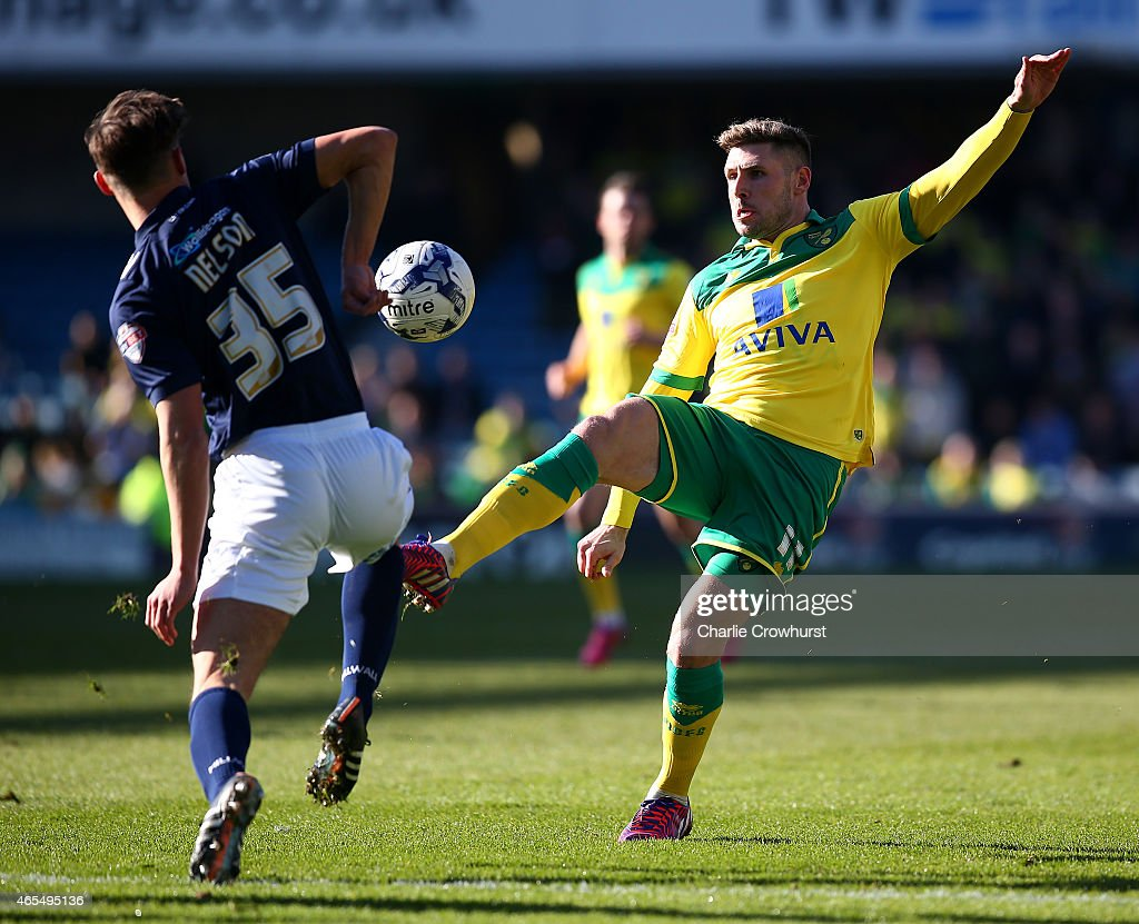 Norwich's Gary Hooper looks to attack during the Sky Bet Championship match between Millwall and Norwich City at The Den on March 07, 2015 in London, England.