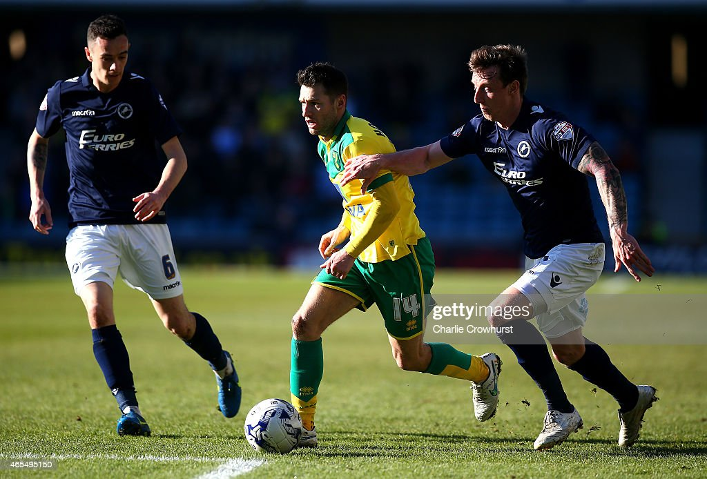 Norwich's Wes Hoolahan looks to break away from Martyn Woolford of Millwall during the Sky Bet Championship match between Millwall and Norwich City at The Den on March 07, 2015 in London, England.