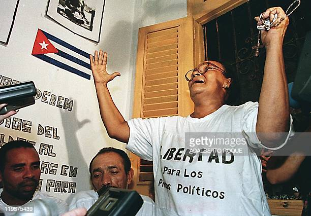 Norys Duran mother of political prisoner Lazaro Costarin Duran asks for Cuban mothers to unite in demanding the freedom of prisoners during a press...