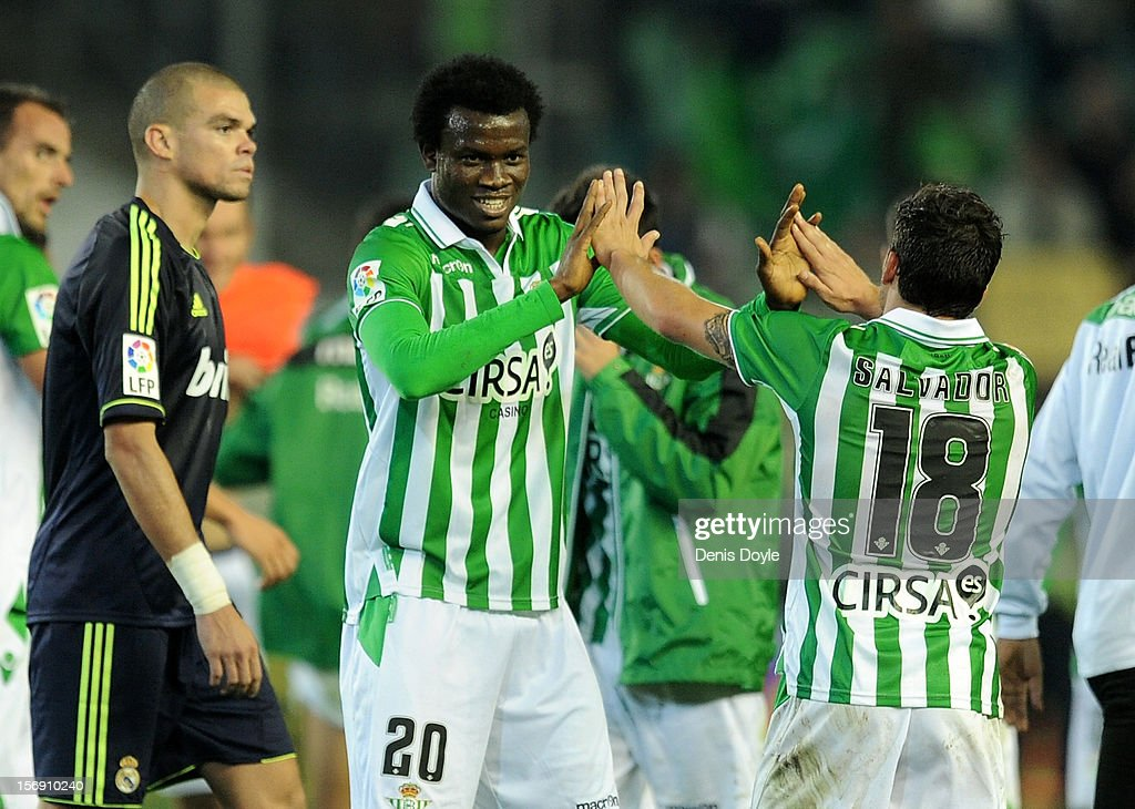 Nosa Iglebor (#20) and Salvador Agra of Real Betis Balompie celebrate after Betis beat Real 1-0 during the La Liga match between Real Betis Balompie and Real Madrid CF at Estadio Benito Villamarin on November 24, 2012 in Seville, Spain.