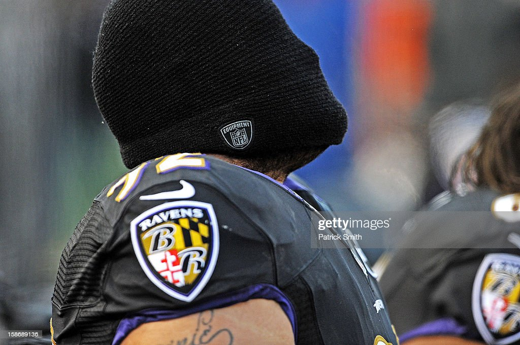 Nose tackle <a gi-track='captionPersonalityLinkClicked' href=/galleries/search?phrase=Haloti+Ngata&family=editorial&specificpeople=622374 ng-click='$event.stopPropagation()'>Haloti Ngata</a> #92 of the Baltimore Ravens has a moment to himself before playing the New York Giants at M&T Bank Stadium on December 23, 2012 in Baltimore, Maryland. The Baltimore Ravens won, 33-14.