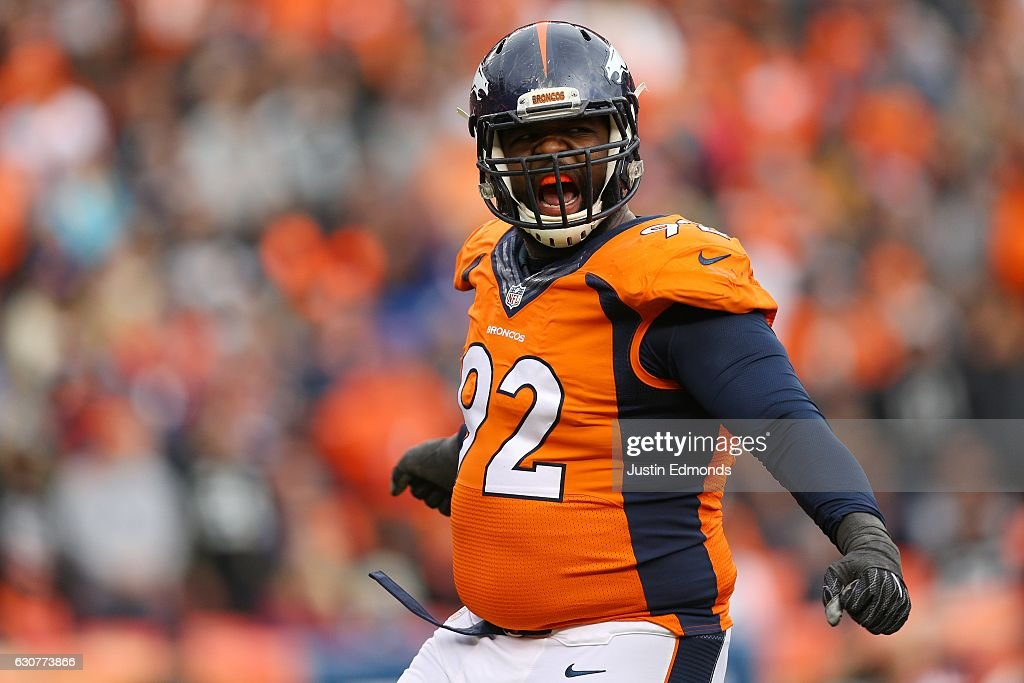 Nose tackle Sylvester Williams #92 of the Denver Broncos celebrates in the second quarter of the game against the Oakland Raiders at Sports Authority Field at Mile High on January 1, 2017 in Denver, Colorado.