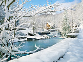 nostalgic gristmill in snowy winter country scene