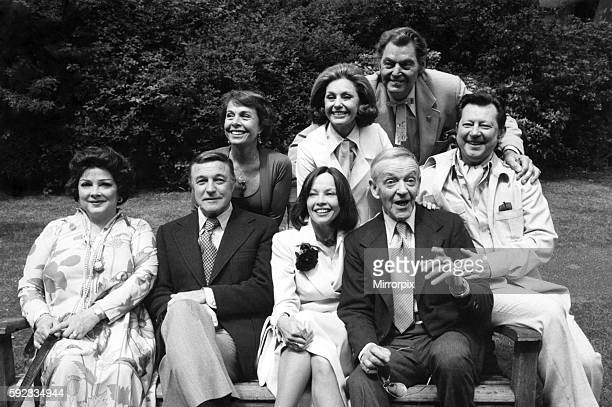 Nostalgic group from the great days of Hollywood pictured outside London's Savoy Hotel In front from left Kathryn Grayson Gene Kelly Leslie Carom and...