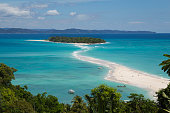 Turquoise blue water on a tropical island beach in Nosy Be Madagascar, Africa.