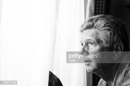 Nosy mature man at the window