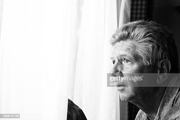 Nosy mature man at the window