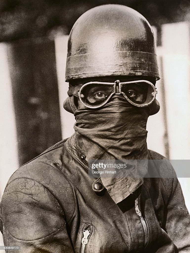 Not a bogey man but the hot protective outfit worn by British motorcycle racers This is a rider at King's Oak High Beech just before a race with his...