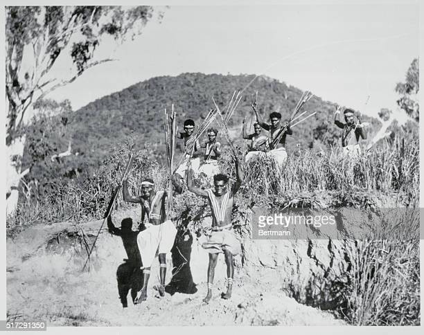 Not as Bloodthirsy as They Look Palm Island Australia Bushmen of Palm Island off the coast of Queensland don't dress up when they become ceremonious...