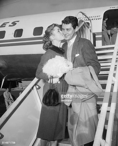 Not engagedActress Debbie Reynolds and a score of press agents were on hand at International Airport to greet singer Eddie Fisher who planed into...