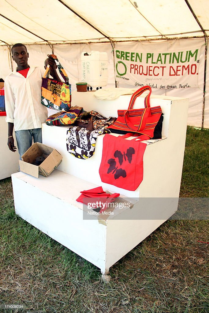 NAKURA, KENYA (Not for sale to The Star (Kenya), Items that the Green Platinum Project Demo makes from recycled material on display at the Nakuru Agricultural Show in Nakura, Kenya. Youths drawn from 13 counties have come up with a green initiative to make low carbon charcoal from waste materials that contain high fibre content. The youths aim is to reverse the adverse effects of climatic change and reduce rates of unemployment in the country.