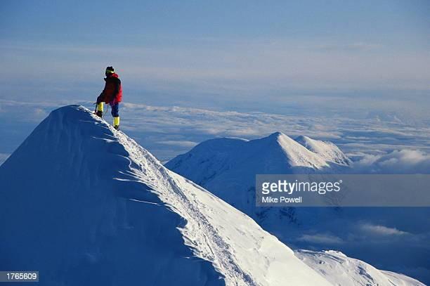 Climber on summit of Mt McKinley Denali Nat Park Alaska USA