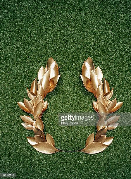 Gold laurel leaf crown overhead view