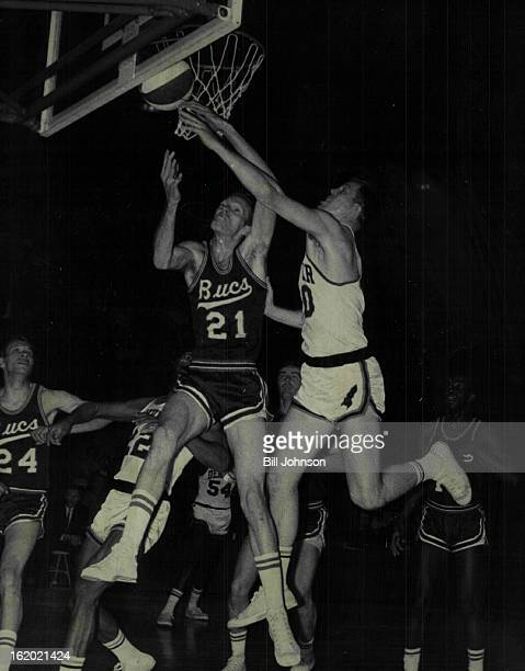 MAR 29 1968 MAR 31 1968 Not This Time Red Baby Denver's Byron Beck wipes away layup by Bucs' Red Robbins in early play as Jesse Branson of Bucs...