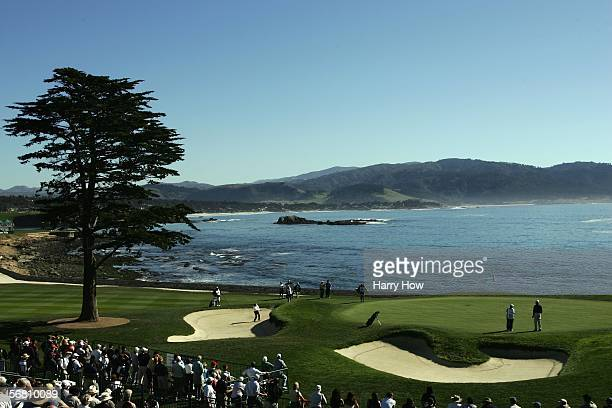 Notah Begay hits from the bunker on the 18th hole during the first round of ATT Pebble Beach National ProAm at the Pebble Beach Golf Links on...