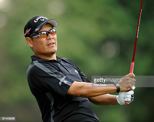 Notah Begay III hits a tee shot during the first round of the Pacific Rubiales Bogota Open Presented by Samsung at Country Club de Bogota on March 4...