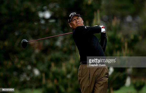 Notah Begay III hits his tee shot on the second hole during the first round of the ATT Pebble Beach National ProAm at Pebble Beach Golf Links on...