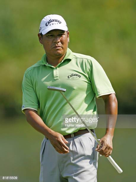 Notah Begay III putts for birdie on the 10th hole during the first round of the ATT National at Congressional Country Club on July 3 2008 in Bethesda...