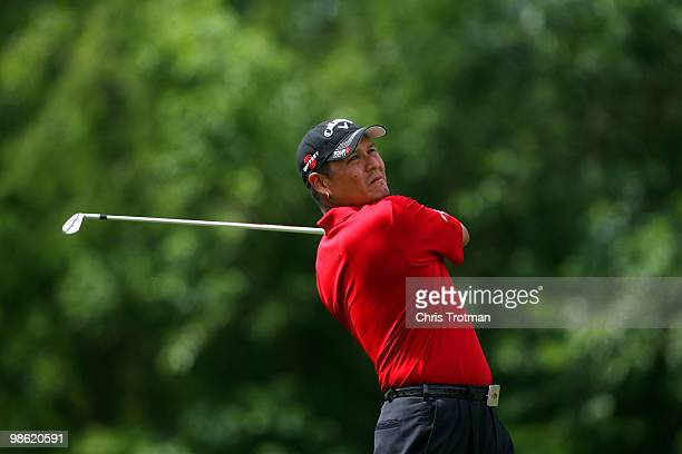 Notah Begay III tees off on the 14th hole during the first round of the Zurich Classic at TPC Louisiana on April 22 2010 in Avondale Louisiana