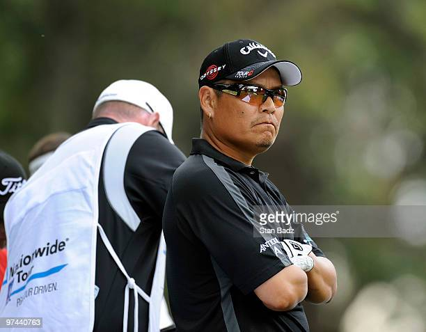 Notah Begay III waits for play during the first round of the Pacific Rubiales Bogota Open Presented by Samsung at Country Club de Bogota on March 4...