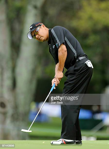 Notah Begay III watches his putt on the 10th green during the first round of the Pacific Rubiales Bogota Open Presented by Samsung at Country Club de...