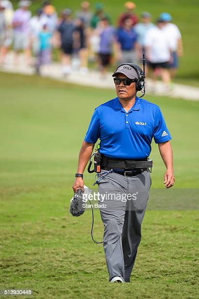 Notah Begay provides commentary for NBC Golf Channel during the third round of the World Golf ChampionshipsCadillac Championship at Blue Monster...