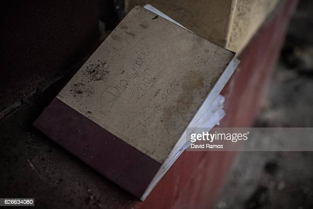 A note book dated on 2003 is seen in a empty room at the offices of Pozo La Muerte closed in 2005 on November 24 2016 in Pumarabule Spain The...