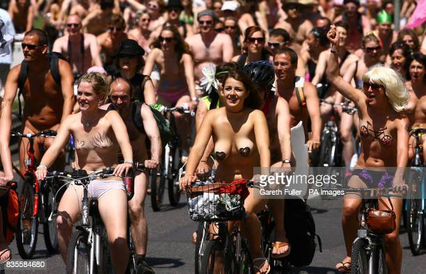 Note content Participants in the Brighton leg of the World Naked Bike Ride move through the streets of Brighton East Sussex to demonstrate the...