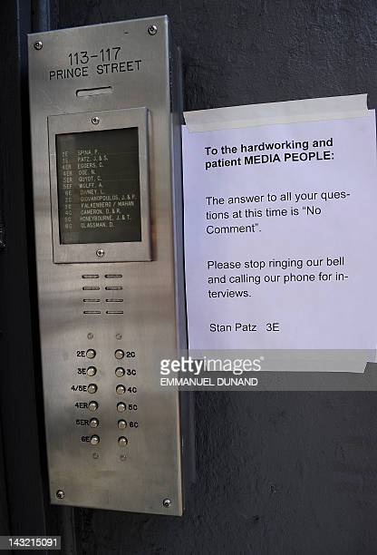 A note from Stan Patz the father of sixyearold Etan Patz who disapeared 33 years is posted in front of the Patz family appartement to ask for privacy...