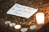 A note is left at a makeshift memorial during a vigil at the University of North Carolina for Deah Shaddy Barakat his wife Yusor Mohammad and her...