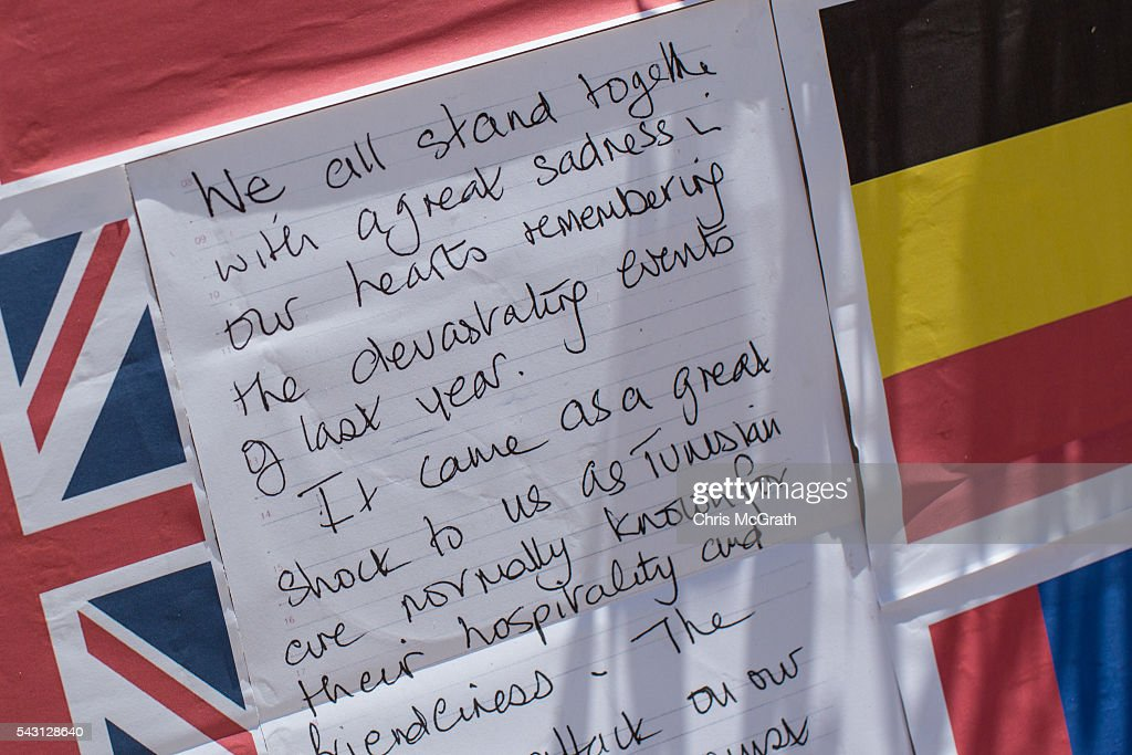 A note is seen in at a memorial for the victims of the 2015 Sousse Beach terrorist attack on the beach in front of the Imperial Marhaba hotel on June 26, 2016 in Sousse, Tunisia. Today marks the one year anniversary of the Sousse Beach terrorist attack, which killed 38 people including 30 Britons. Before the 2011 revolution, tourism in Tunisia accounted for approximately 7% of the country's GDP. The two 2015 terrorist attacks at the Bardo Museum and Sousse Beach saw tourism numbers plummet even further forcing hotels to close and many tourism and hospitality workers to lose their jobs.