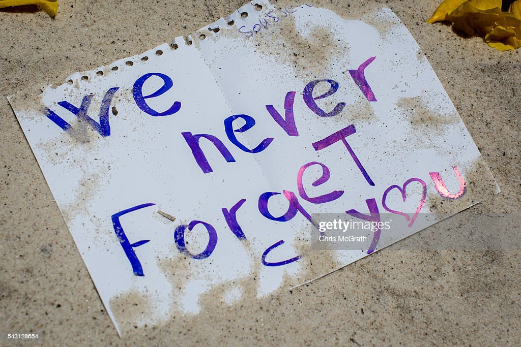 A note is seen in the sand at a memorial for the victims of the 2015 Sousse Beach terrorist attack on the beach in front of the Imperial Marhaba hotel on June 26, 2016 in Sousse, Tunisia. Today marks the one year anniversary of the Sousse Beach terrorist attack, which killed 38 people including 30 Britons. Before the 2011 revolution, tourism in Tunisia accounted for approximately 7% of the country's GDP. The two 2015 terrorist attacks at the Bardo Museum and Sousse Beach saw tourism numbers plummet even further forcing hotels to close and many tourism and hospitality workers to lose their jobs.