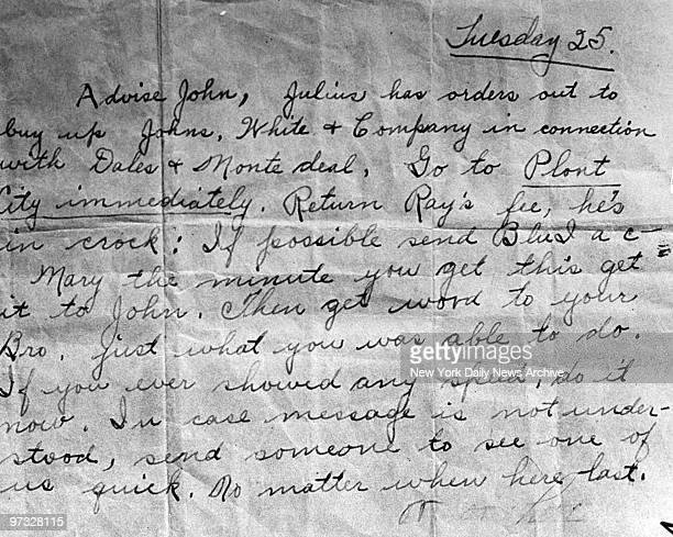 Note Mary Ann Longmaker delivered to John Dillinger