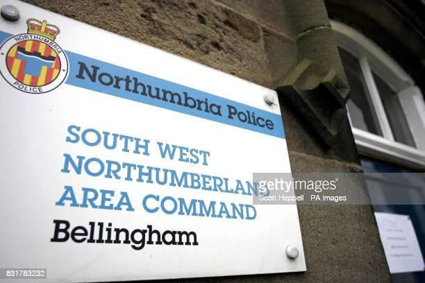 A note on the door of Bellingham police station pointing people in the direction of the book of condolence opened in memory of Pc Joe Carroll who was...