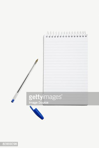 A note pad and pen