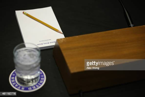 A note pad is placed on the witness table prior to a markup hearing on Keystone XL pipeline before the Senate Energy and Natural Resources Committee...
