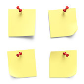 Collection of various yellow note papers with curled corner pinned with red push pins 3D rendering isolated on white background