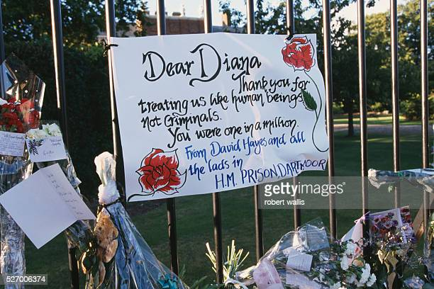 A note to Princess Diana is attached to a fence outside Westminster Abbey on the day of Princess Diana's funeral just seven days after the tragic...