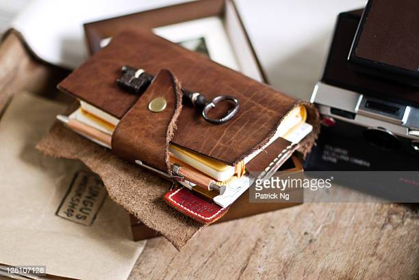 Notebook of  leather cover with antique key