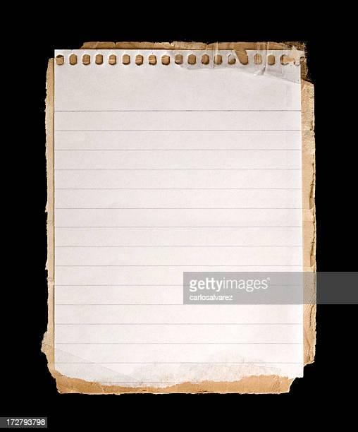 Feuille de cahier avec un Tracé de détourage